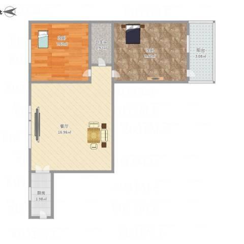 艮园2室1厅1卫1厨56.00㎡户型图