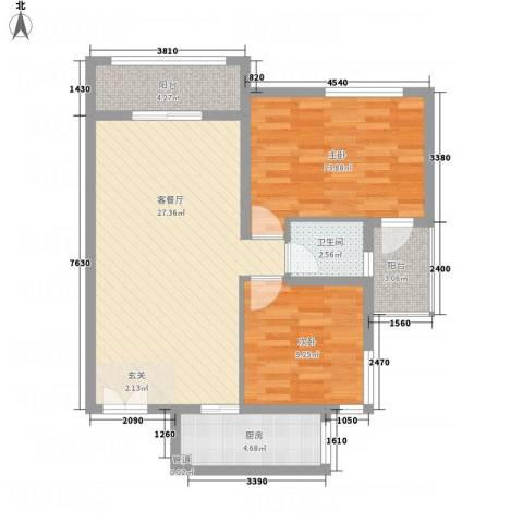淮安万达广场2室1厅1卫1厨65.08㎡户型图
