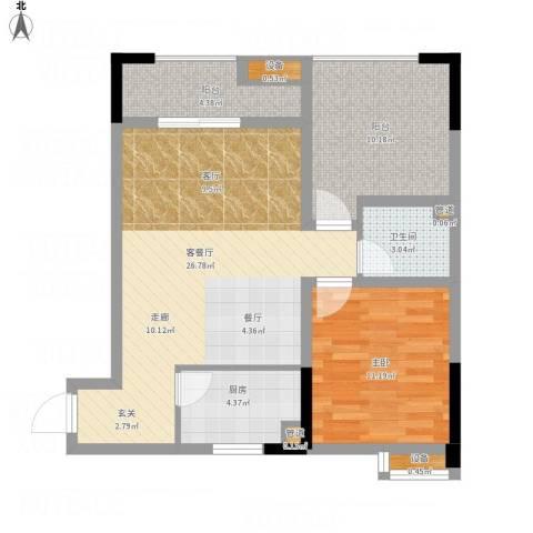 恺信时代天城1室1厅1卫1厨89.00㎡户型图