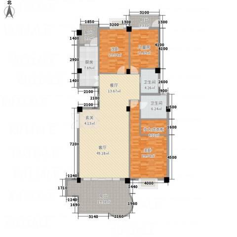 龙汇花园3室1厅2卫1厨167.00㎡户型图