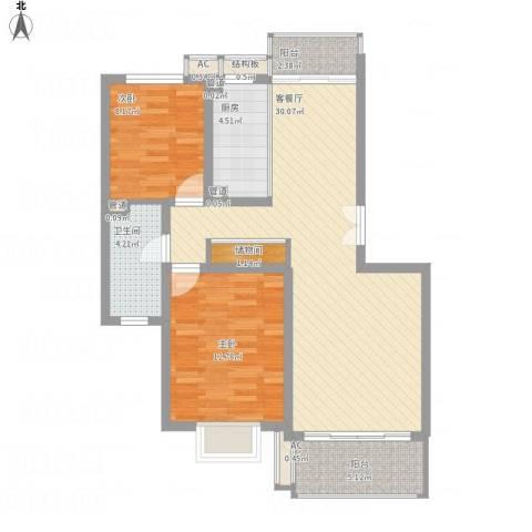 宝地绿洲城南区2室1厅7卫1厨102.00㎡户型图
