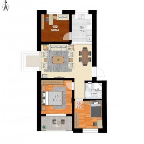 七色镇3室1厅1卫1厨117.00㎡户型图
