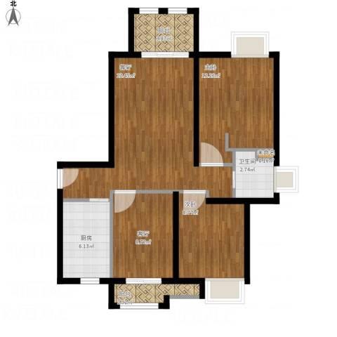 同润蓝美俊庭2室2厅2卫1厨97.00㎡户型图