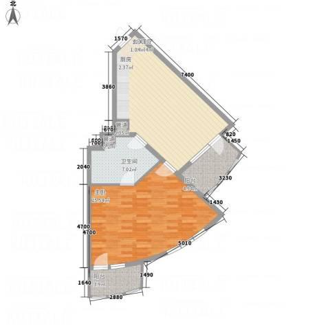 御庭春MOMA白金海岸公寓1室1厅1卫0厨66.30㎡户型图