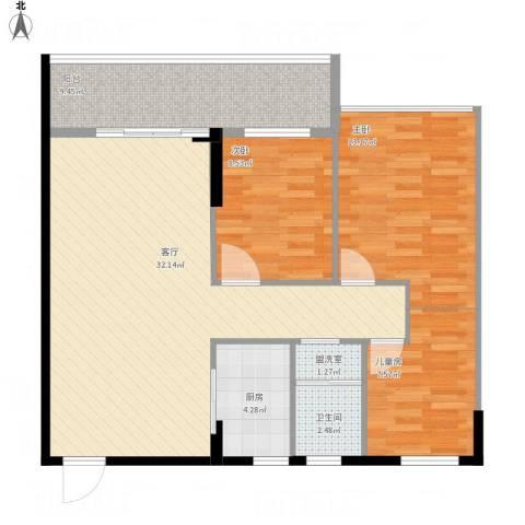 雅居苑4-12023室2厅1卫1厨109.00㎡户型图