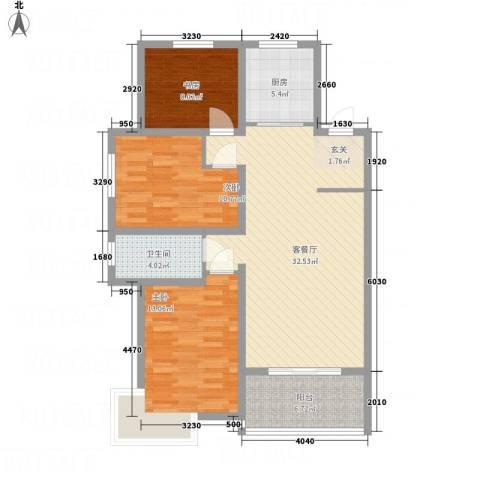 华城新视界3室1厅1卫1厨115.00㎡户型图