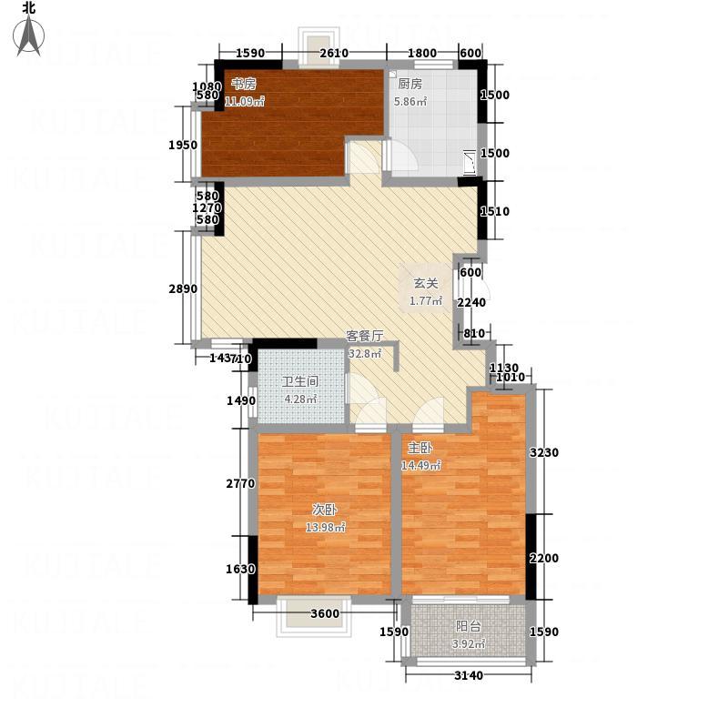 金基月亮湾113.00㎡户型3室