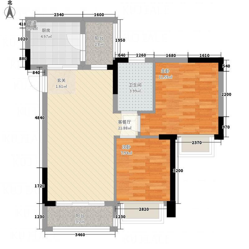 世纪阳光城西户5户型2室1厅1卫1厨