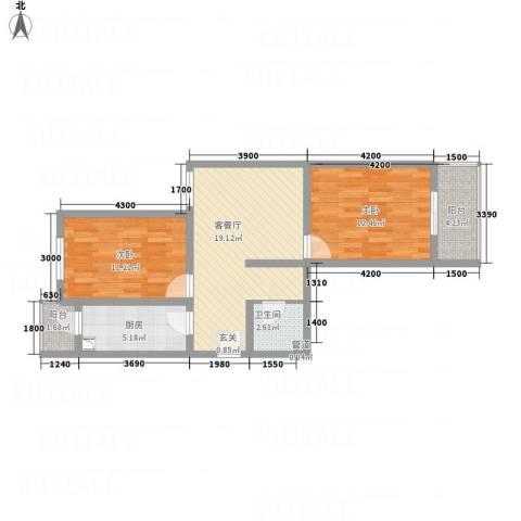 中悦水晶城2室1厅1卫1厨83.00㎡户型图