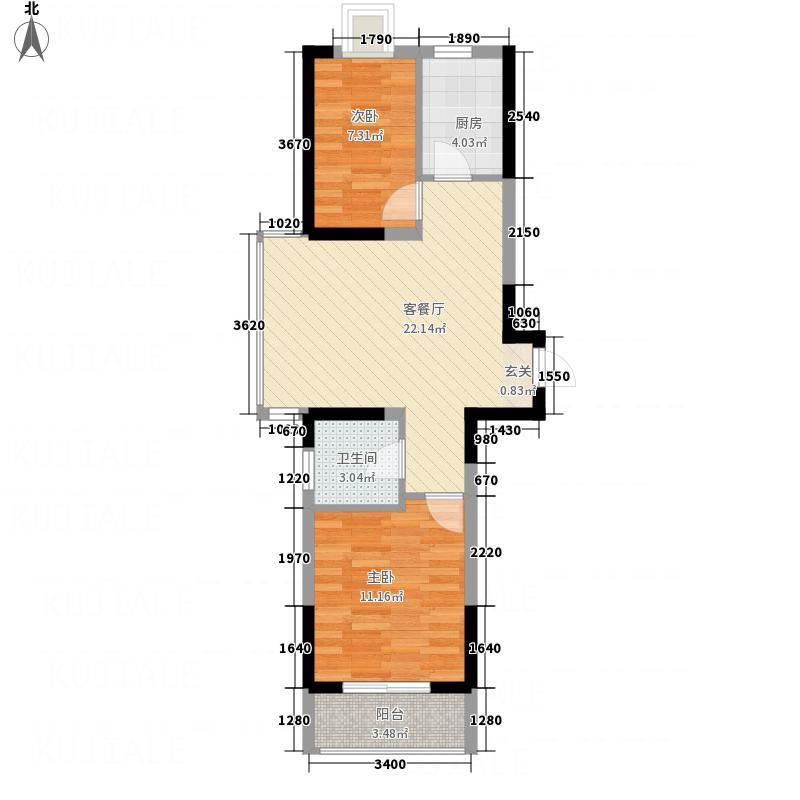 金玉山・世纪花园73.00㎡R'户型2室2厅1卫