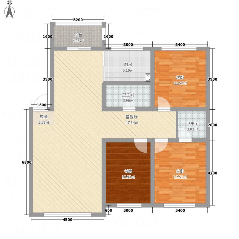万龙第五城128.40㎡二期B户型3室2厅2卫