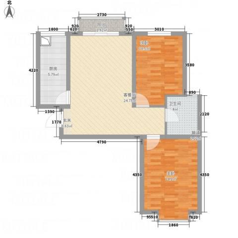 中悦水晶城2室1厅1卫1厨88.00㎡户型图