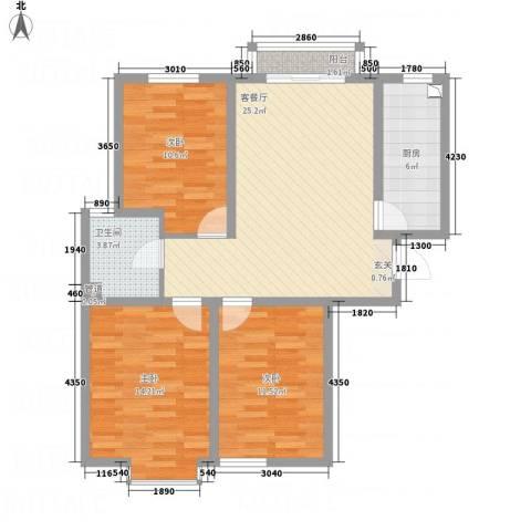 中悦水晶城3室1厅1卫1厨105.00㎡户型图