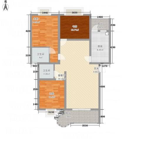 上河美地3室1厅2卫1厨127.00㎡户型图