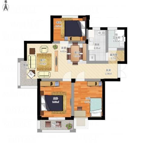 128国际公寓3室1厅1卫1厨89.00㎡户型图