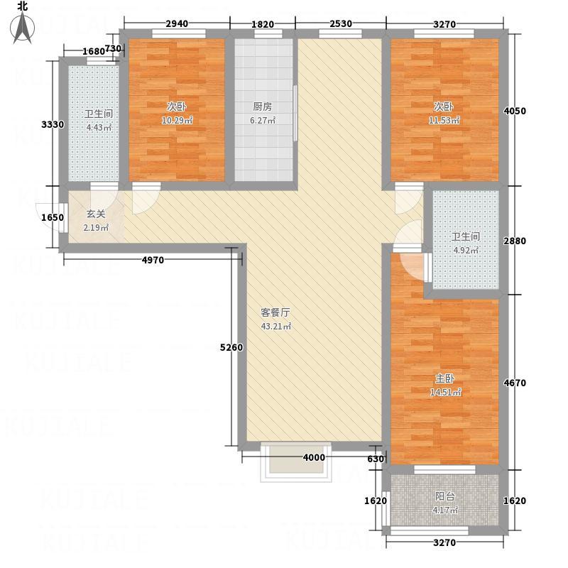 德富悦城137.00㎡户型3室2厅2卫1厨