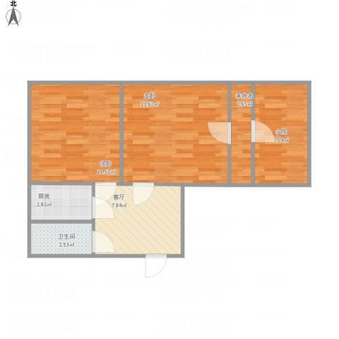 义堂小区2室1厅1卫1厨66.00㎡户型图
