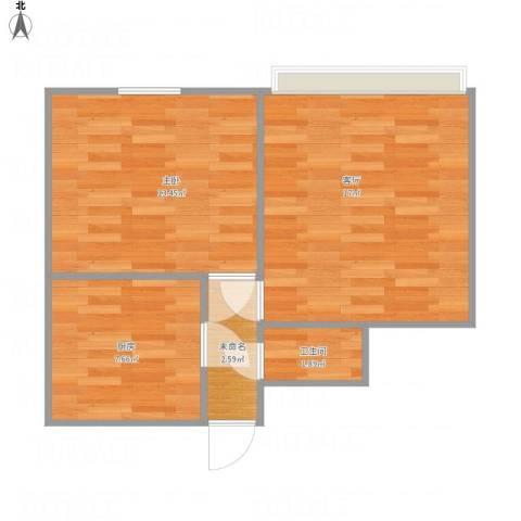 和平新村1室1厅1卫1厨58.00㎡户型图