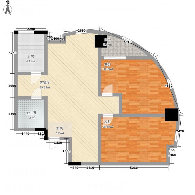 海亚金域湾131.10㎡A3户型2室2厅1卫1厨