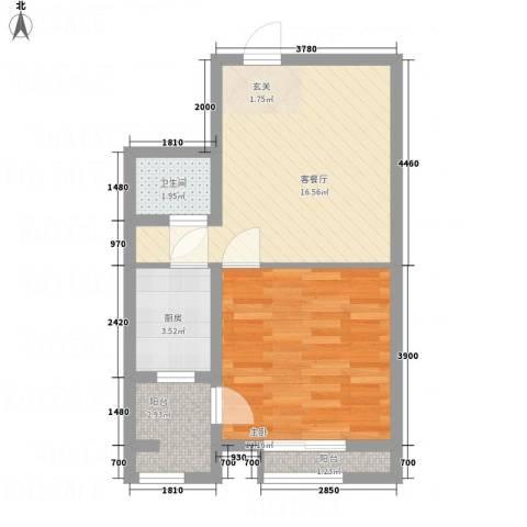 恒顺世纪中心1室1厅1卫1厨39.34㎡户型图