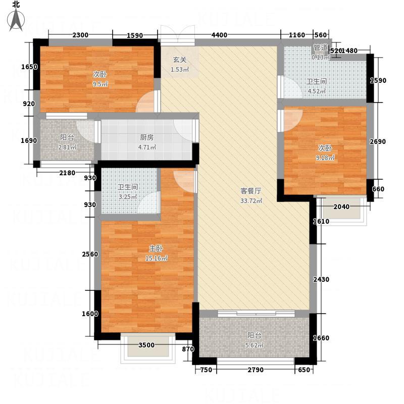 东方名苑二期128.88㎡二期7#标准层a户型3室2厅2卫