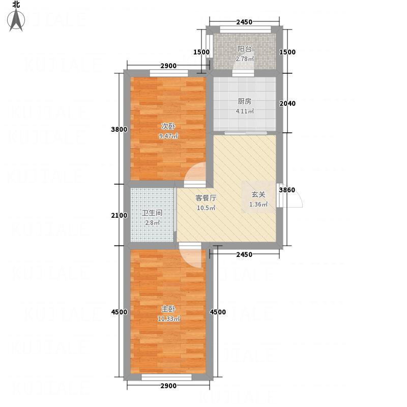 万龙第五城58.15㎡二期C户型2室1厅1卫