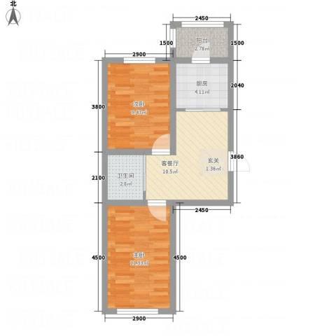 万龙第五城2室1厅1卫1厨58.00㎡户型图