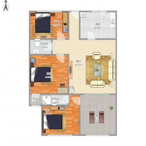 宾南花园3室1厅2卫1厨126.00㎡户型图