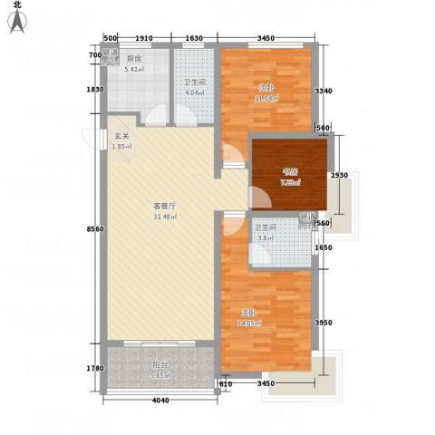 兴业春天二、三期3室1厅2卫1厨84.13㎡户型图