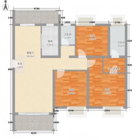 龙山豪庭3室1厅2卫1厨142.00㎡户型图