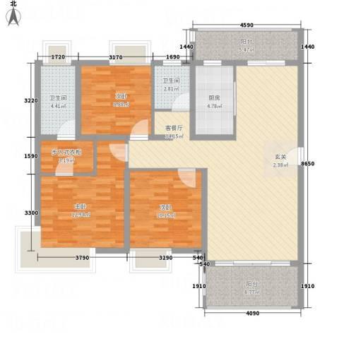 龙山豪庭3室1厅2卫1厨134.00㎡户型图