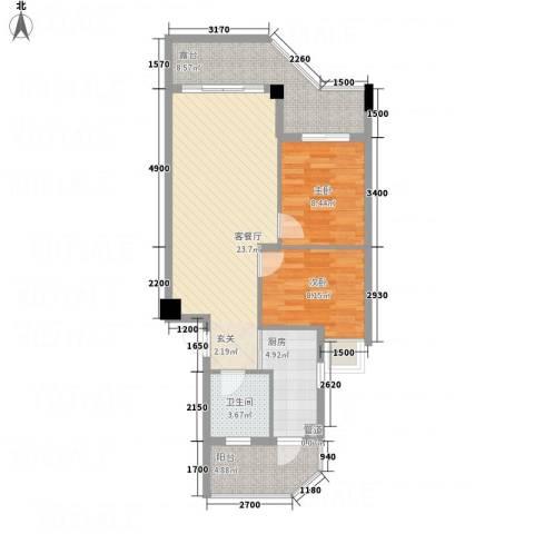 橄榄园2室1厅1卫1厨62.39㎡户型图