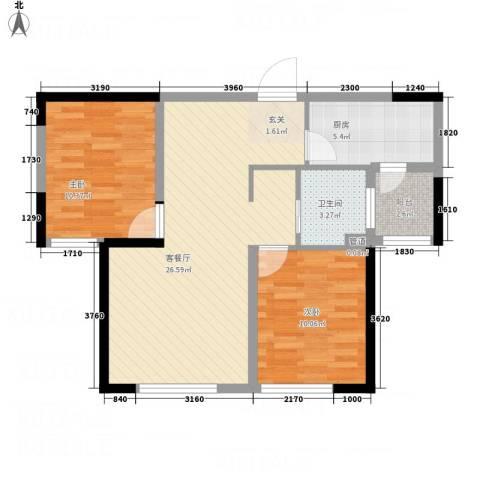 万象城2室1厅1卫1厨84.00㎡户型图
