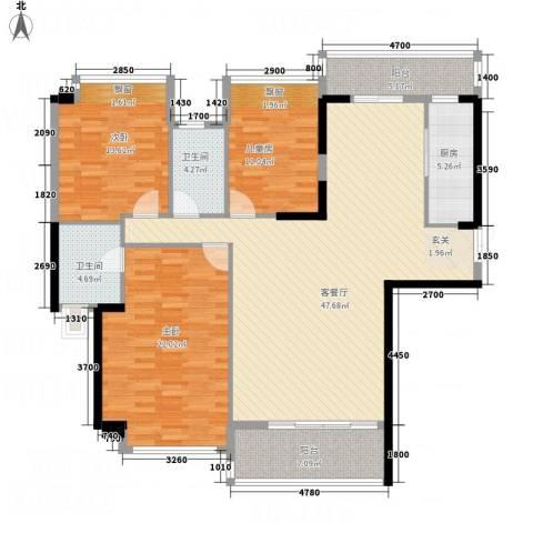耀宝凯旋豪庭・锦公馆3室1厅2卫1厨120.84㎡户型图