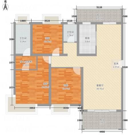 龙山豪庭3室1厅2卫1厨155.00㎡户型图