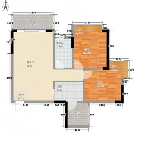 耀宝凯旋豪庭・锦公馆2室1厅1卫1厨82.00㎡户型图