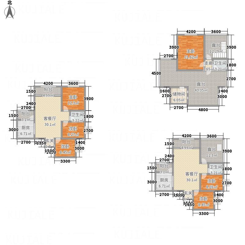 同立紫郡玫瑰园C5户型3室2厅2卫1厨