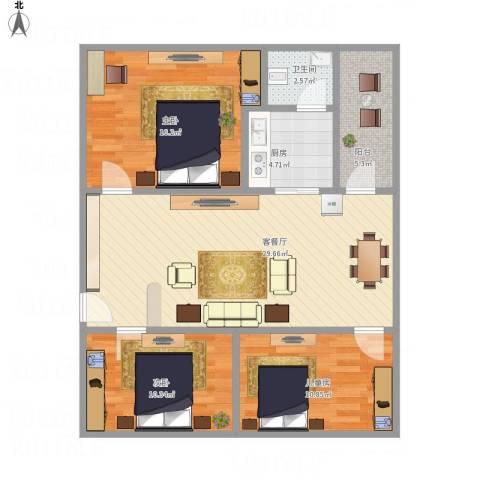 盛嘉苑3室1厅1卫1厨110.00㎡户型图
