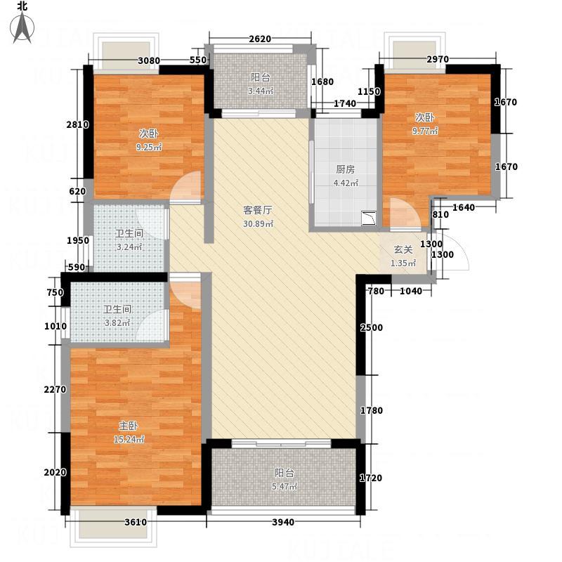滨江首府122.00㎡A3户型3室2厅2卫