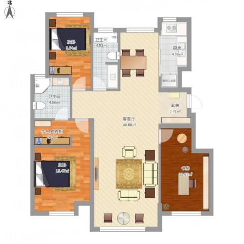中国铁建 青秀蓝湾3室1厅2卫1厨127.00㎡户型图