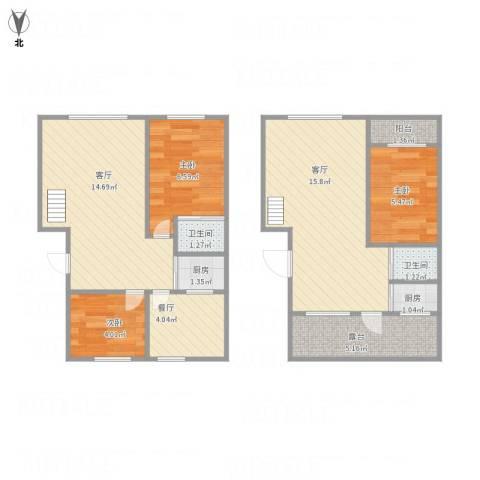 东方万达城3室3厅2卫2厨86.00㎡户型图