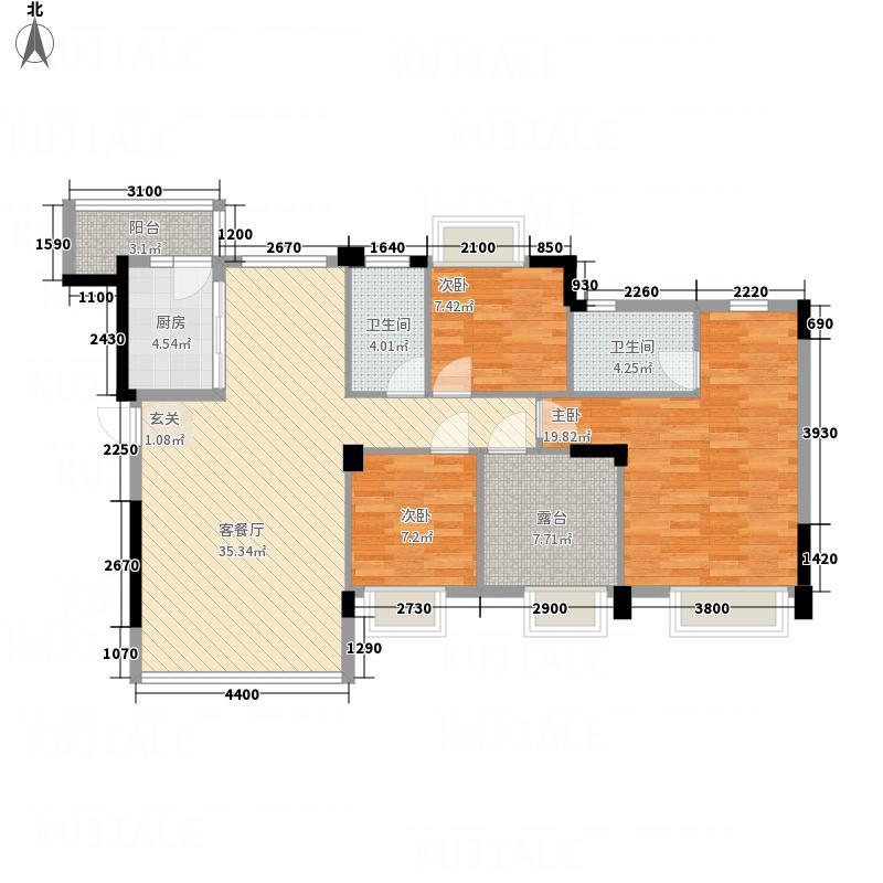 清华十二郡112.00㎡五、六、七栋2单位0户型4室2厅2卫1厨
