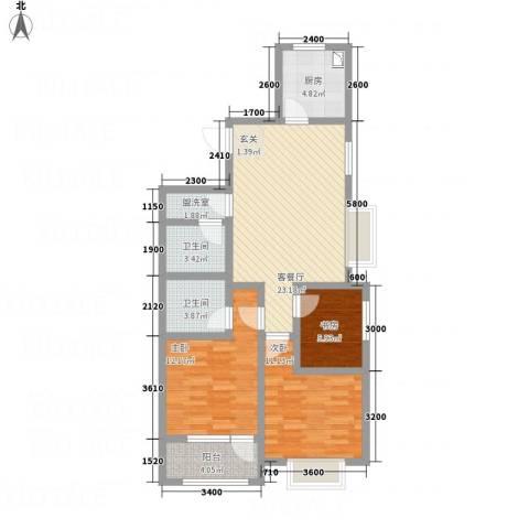 八里庄・盛世华园3室2厅2卫1厨70.46㎡户型图