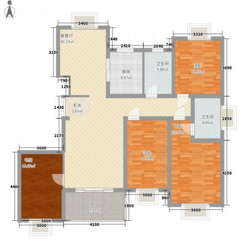 都市豪庭4室1厅2卫1厨151.00㎡户型图