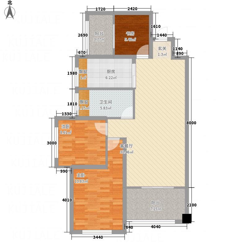 紫御豪庭5.36㎡D2户型3室2厅1卫