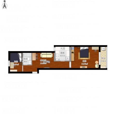 云台一小区2室1厅1卫1厨64.00㎡户型图