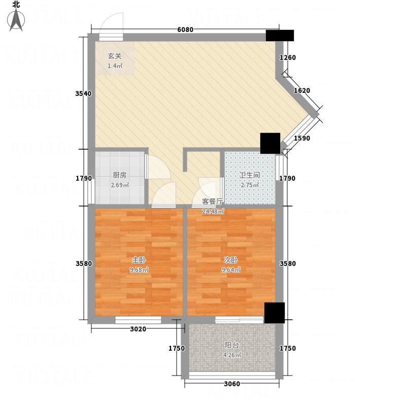 尚书苑75.00㎡3/4#楼B户型2室2厅1卫1厨