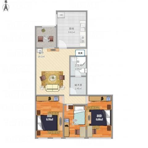 北苑家园紫绶园3室2厅1卫1厨80.00㎡户型图