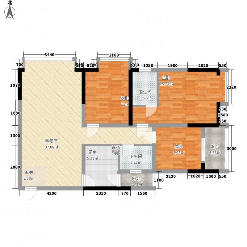 金桥商贸名邸11.50㎡户型3室2厅2卫1厨