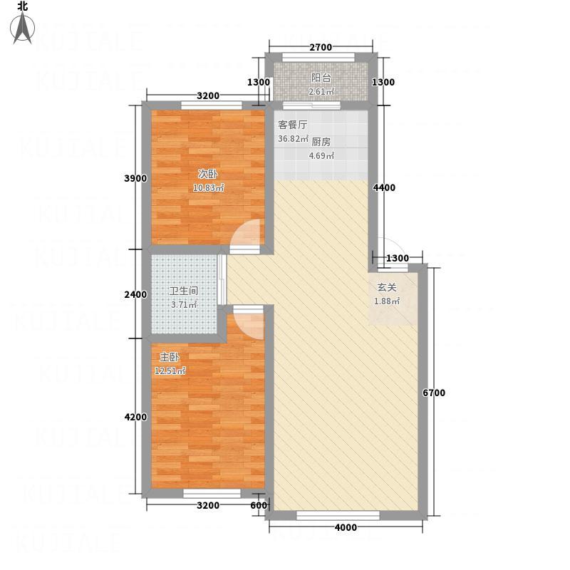 万龙第五城86.28㎡A户型2室2厅1卫